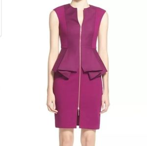 Ted Baker Jamthun Peplum Purple Dress Size 4-6 EUC